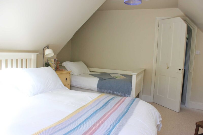 Attic room front bedroom double and single bed