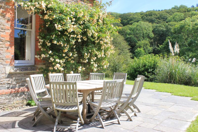 Garden table and roses